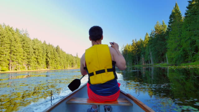 Mountain Lake Strong Man Canoe Paddling, Summer Day video