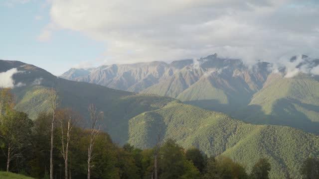 bergsee mit türkisfarbenem wasser und grünen bäumen. reflexion im wasser. schöne frühlingslandschaft mit bergen, wald und see. luftaufnahme. drohne über einem schönen bergwaldsee geschossen - kieferngewächse stock-videos und b-roll-filmmaterial