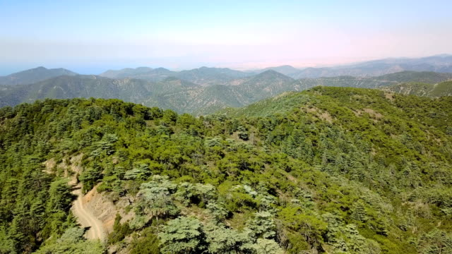 Mountain landscape. Island of cyprus Cedar Valley. The flight is high in the sky video