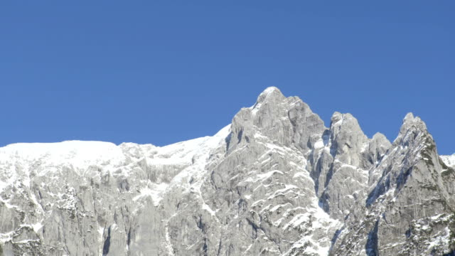 Mountain line on the blue sky. video