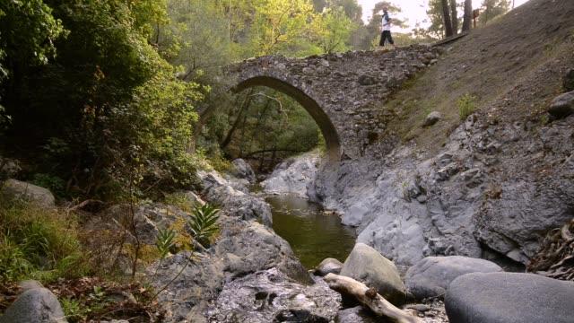 vídeos de stock, filmes e b-roll de montanha rio flui sob a ponte medieval veneziana - característica arquitetônica