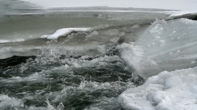 mountain river in winter. video