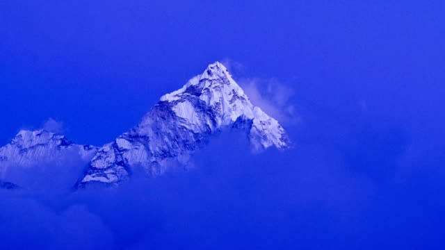 Mountain scenery in Himalayas, Ama Dablam at sunset. timelapse video