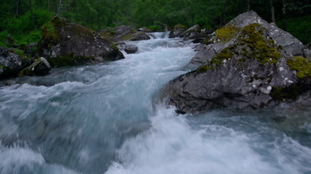 mountain stream among rocks and tress. aerial view - spring stock videos & royalty-free footage