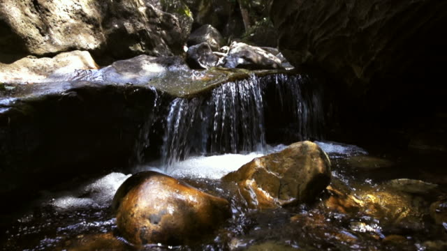 Mountain stream in slow motion video