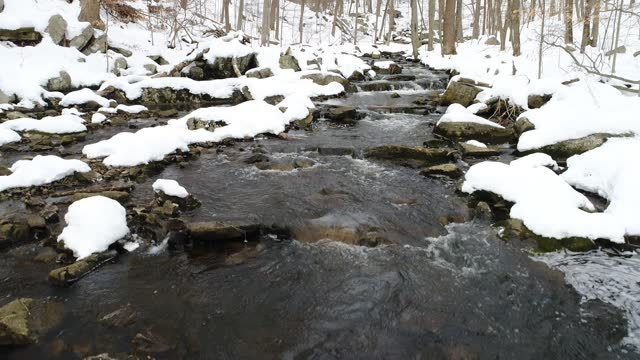 Mountain stream winter snow, ascending over water