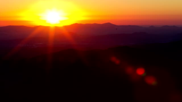 Mountain Sun Rise Time Lapse With Lens Flare Tight video