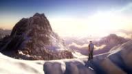 istock Mountain top with mountain climber 494910050