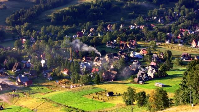 mountain town in the morning - zakopane stok videoları ve detay görüntü çekimi