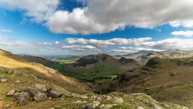 Mountain view panorama time lapse Scenic landscape vista of the English Lake District Ambleside valley country geographic area stock videos & royalty-free footage
