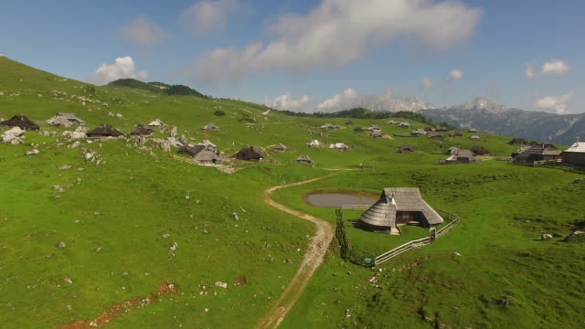 上から夏で山村風景 - スロベニア点の映像素材/bロール