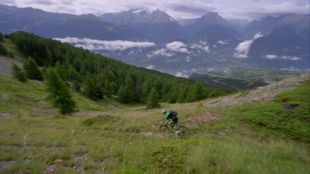 Mountainbiker in alpine terrain video