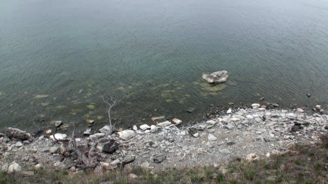 vídeos de stock e filmes b-roll de mountainous coast and smooth stones closeup under clean water of lake baikal. - lago baikal