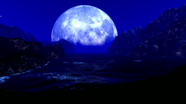 mountains and ocean against big moon - układ słoneczny filmów i materiałów b-roll