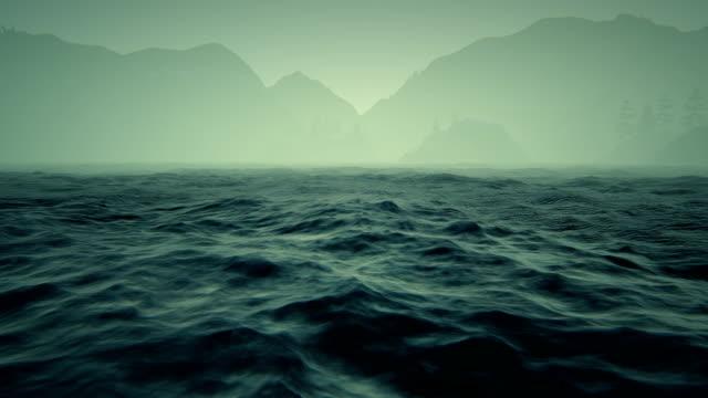 Mountains and rough seas