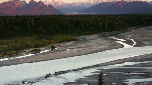 Mountains of the Denali Range Wide Shot Panning Across video