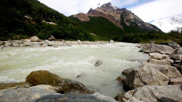 Mountains river in Los Glaciares National Park video