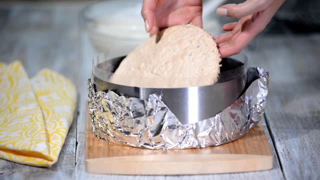 mousse yogurt cake. girl making mousse cake on the kitchen. - pesche bambino video stock e b–roll