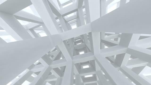 перемещение вниз путем строительства современных белый абстрактный балка 3d-рендеринга анимации - abstract architecture стоковые видео и кадры b-roll