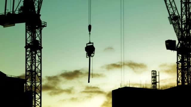 movement of a crane in beautiful sunset - ahır stok videoları ve detay görüntü çekimi
