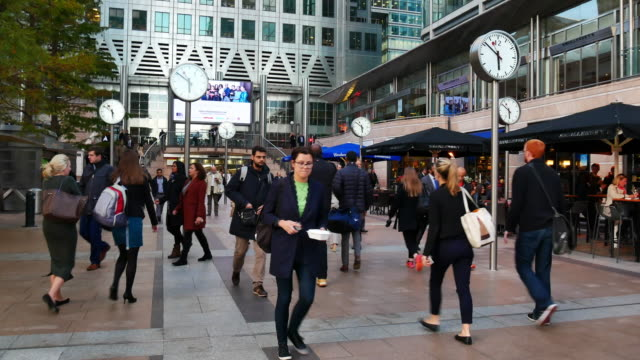 4K Movement of business people in office building zone, London, England video