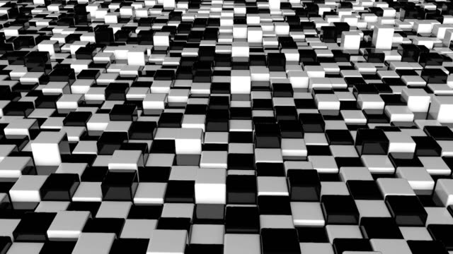 Movement of cubes. Futuristic background with black and white cubes. Cubes with reflection video