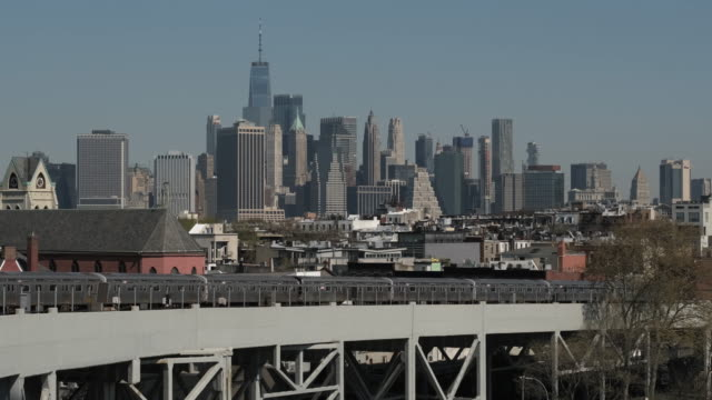 Movement Of The Train On The Bridge. New York. Train Ride Over The Bridge. View Of New York. new york city subway stock videos & royalty-free footage