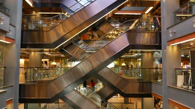 Movement up and down escalators video