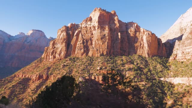 movement, view from the car on a high mountain pass zion national park 4k. - parco nazionale video stock e b–roll