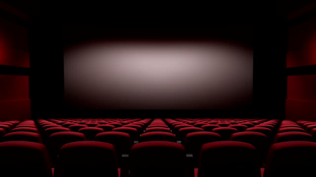 movie theatre with a green screen video