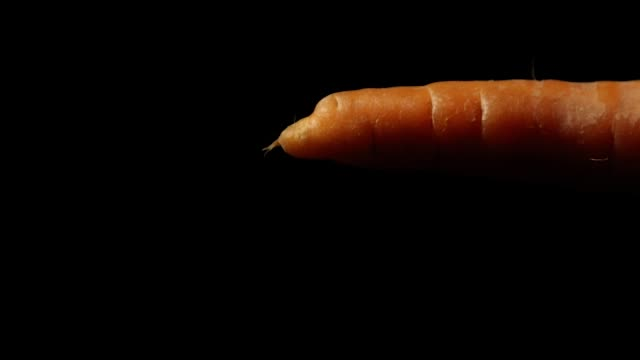moving and rotating carrot on black background moving and rotating carrot on black background side lit stock videos & royalty-free footage