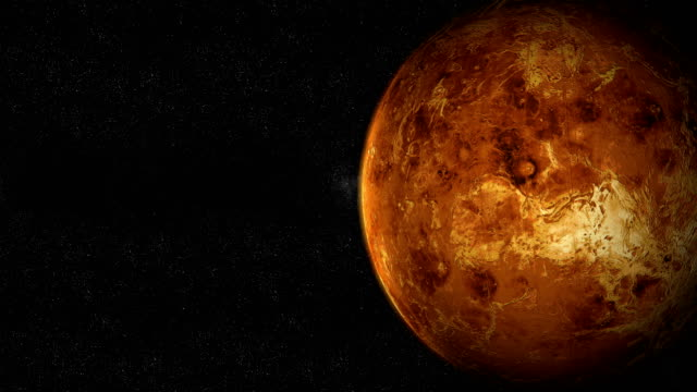 Moving away from the planet Venus in the outer space