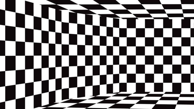 bewegten hintergrund schachbrettmuster in perspektive, schwarze und weiße geometrischen design. - karo stock-videos und b-roll-filmmaterial