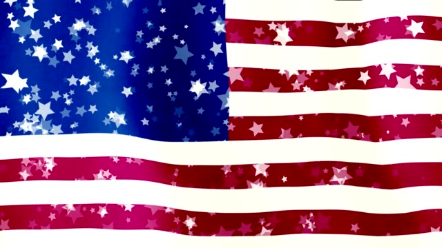 moving background in form of an American USA flag, as if it waving in the wind. translucent stars fly over the flag - vídeo