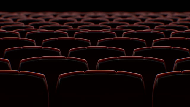 Moving Behind the Chairs in Abstract Cinema Hall with Black Screen Seamless. Looped 3d Animation of Rows of Seats in Cinema. Art and Media Concept.