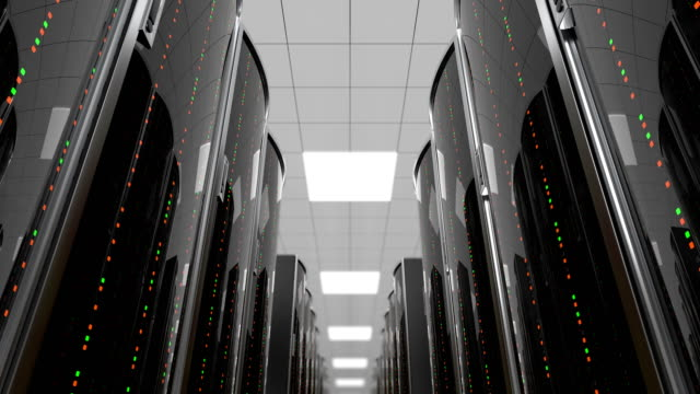 Moving between server racks in datacenter, loop 3d animation of a movement through the server room between server racks in world wide cloud dataceneter, concept of data store in the room of globe hosting provider, seamless loop server room stock videos & royalty-free footage