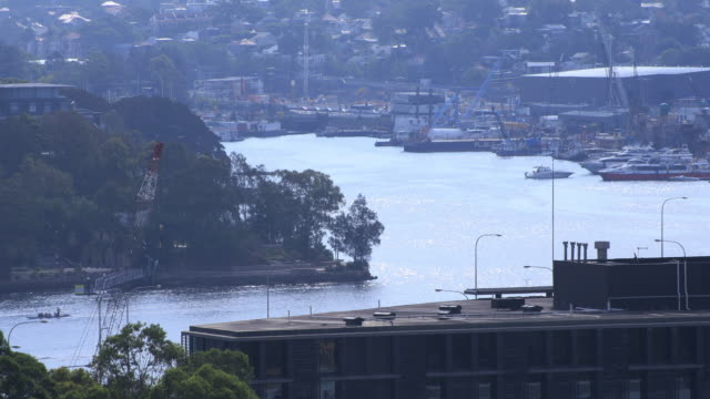a moving boat on the river in sydney long shot - passenger craft stock videos & royalty-free footage
