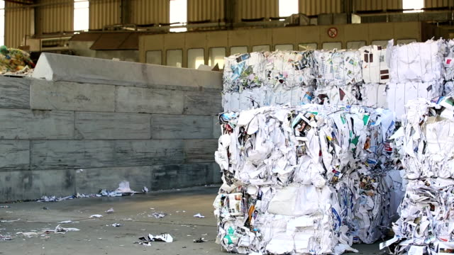 Moving Bundles Of Paper Waste In A Recycling Center video