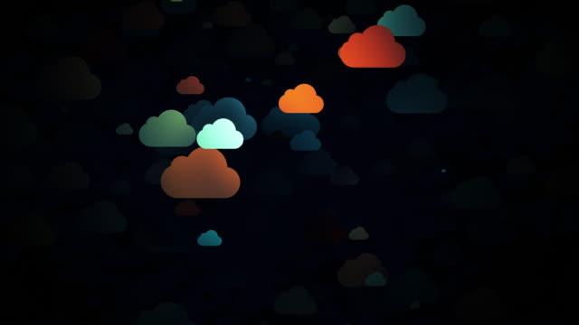 vídeos de stock, filmes e b-roll de nuvens de desenho animado em movimento, animação 3d - clipe