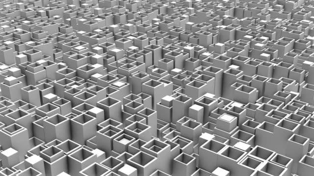 Moving chaotically rectangular 3D objects