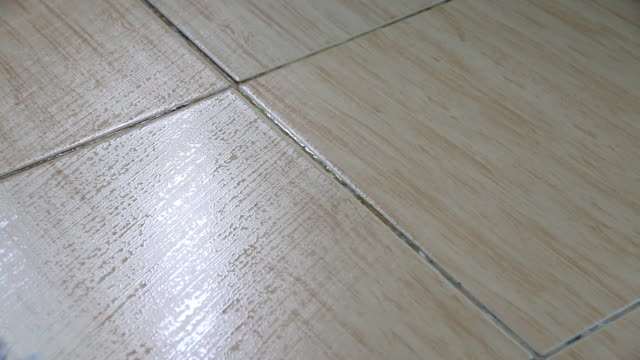A moving cloth mop is used to clean a tile floor. video
