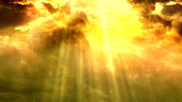 4K Moving cloud at Sunset legendary religious sky - stock video