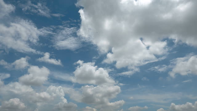 Moving cloud on blue sky background