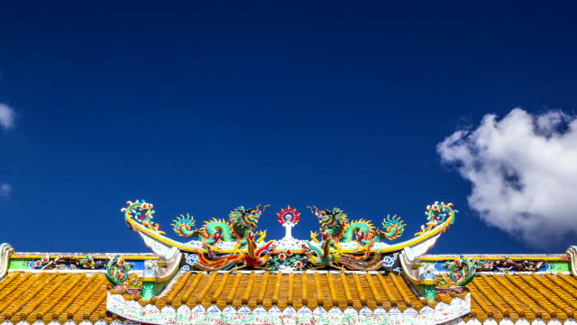 Moving clouds at the roof of Chinese shrine temple video