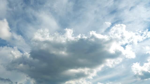 雲の時間経過、不機嫌な青の雲空を移動 - ファストモーション点の映像素材/bロール