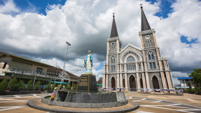Moving clound on sky and The Cathedral of the Immaculate Conception is a Roman Catholic Diocese of Chanthaburi, Timelapse video