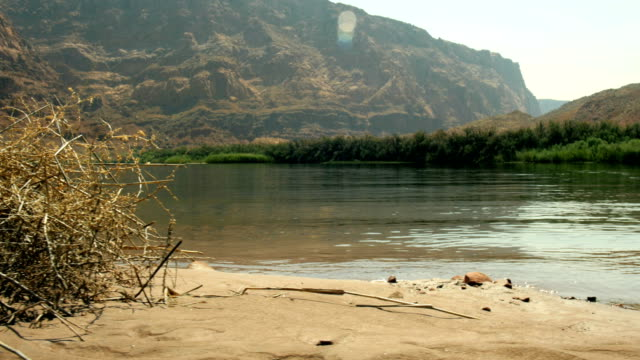 moving dolly slider beach at Lee's Ferry Colorado River Grand Canyon Arizona 4K video