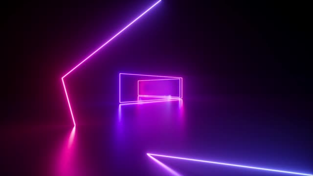 vídeos de stock e filmes b-roll de moving forward endless tunnel, abstract neon background, ultraviolet light, glowing lines, virtual reality interface, frames, hud, pink blue spectrum, laser rays - trippy background