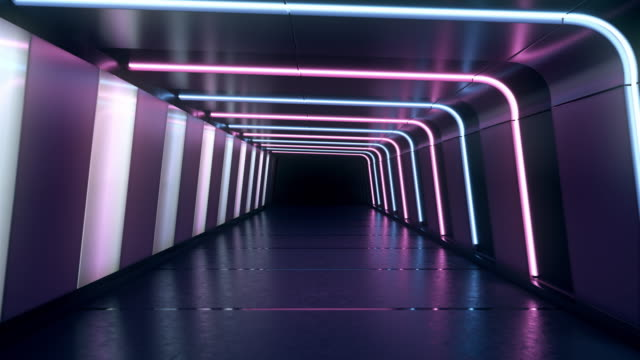 Moving forward inside an endless tunnel with glowing blue and pink neon lines and white lamps.