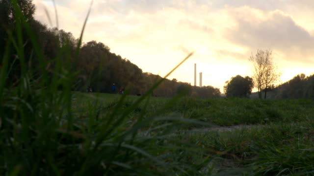 Moving from grass. sunset clouds video